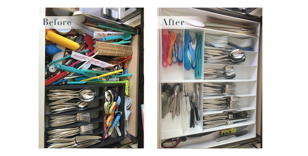 An organized cutlery drawer
