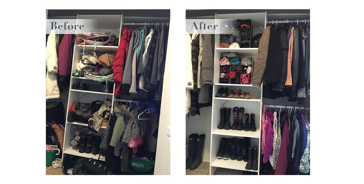 Front hall closet reorganized